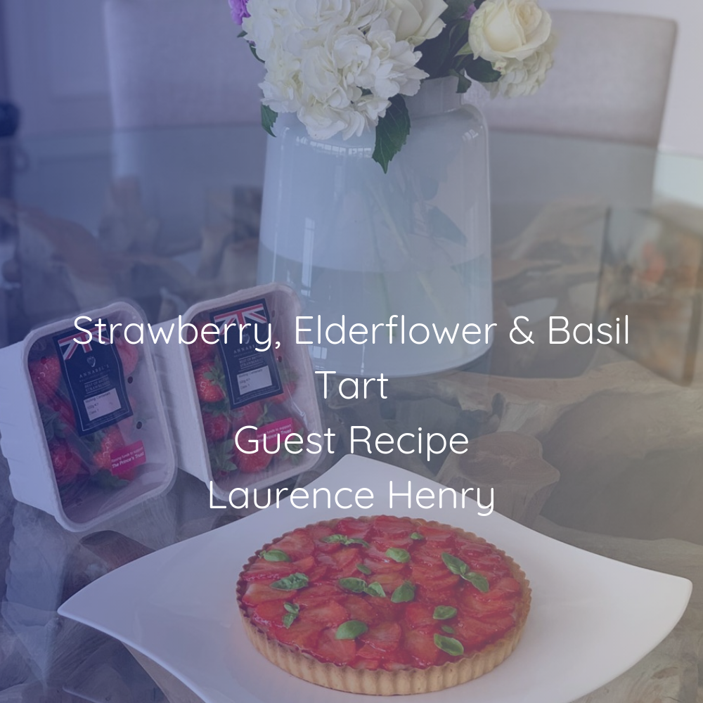 Strawberry, Elderflower & Basil Tart