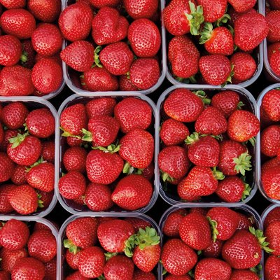 Looking down on punnets of strawberries