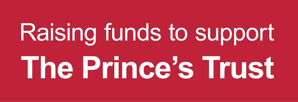 raising funds for the princes trust text on red background