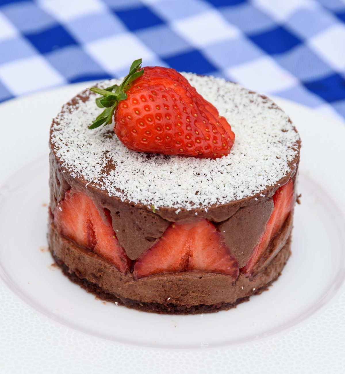 Strawberry and chocolate torde on a plate