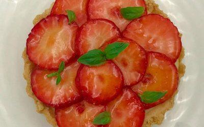 Strawberry, Elderflower & Basil Tart