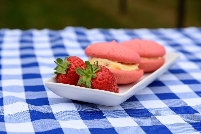 strawberry's and cream sandwich on a white plate