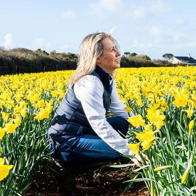 Annabel in a daffodil field