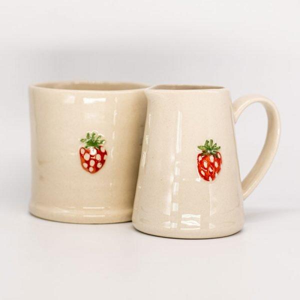 Gisela Graham ceramic strawberry jug and mug