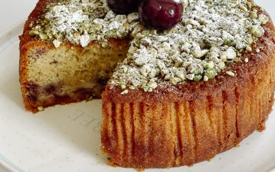 Cherry and Marzipan Cake with Pistachios and Orange Blossom Syrup
