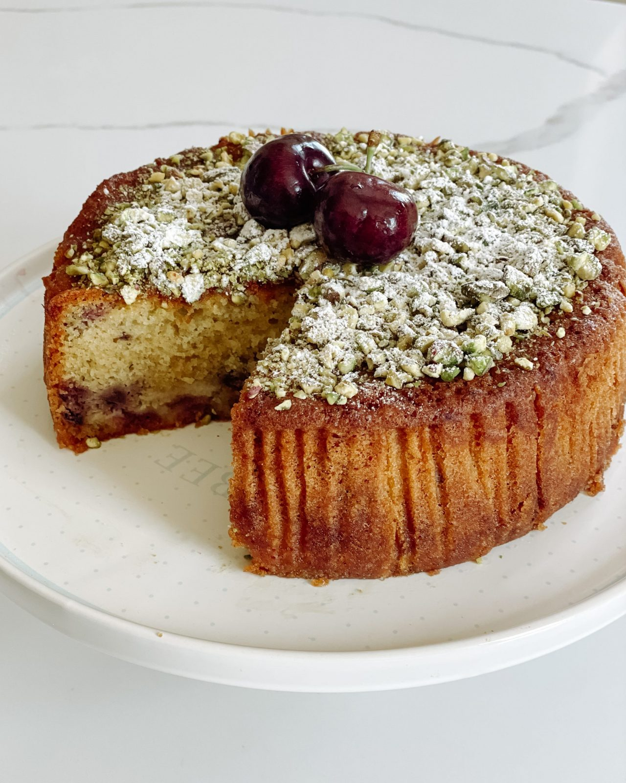 Cherry and Marzipan Cake with Pistachio and Orange Blossom Syrup